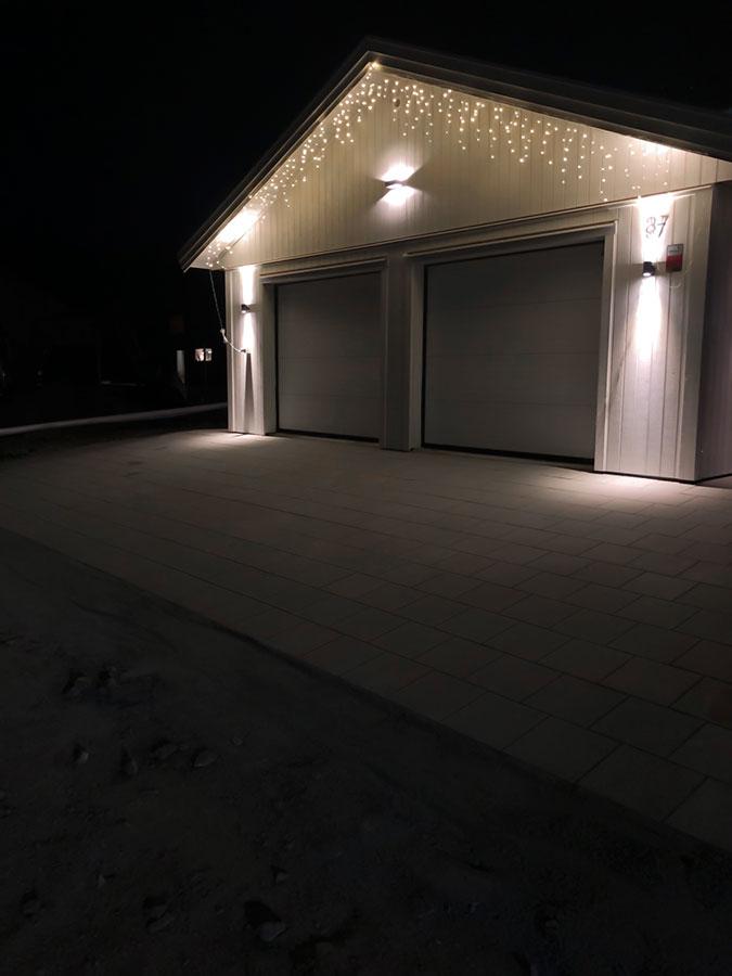 inkopplad belysning på garage